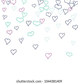 Background with hand drawn hearts. Pretty simple pattern with falling hearts for Valentine cards, posters, banners. Vector holiday background. Romantic love motif. Falling confetti.