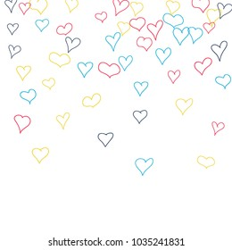 Background with hand drawn hearts. Trendy simple pattern with falling hearts for cards, posters, banners, Valentine decoration. Vector holiday background. Romantic love motif. Falling confetti.