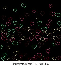 Background with hand drawn hearts. Trendy simple pattern with falling hearts for Valentine decoration, cards, banners, posters. Vector holiday background. Romantic love motif. Falling confetti.