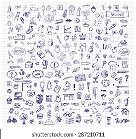 Background with hand drawn ink school doodles. Vector illustration for typography banners, posters, fliers, cards, covers, brochures  etc