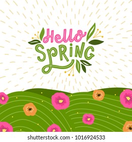 background with hand drawn lettering hello spring and flowers, and grace. Spring card with typography welcome spring and leaves.