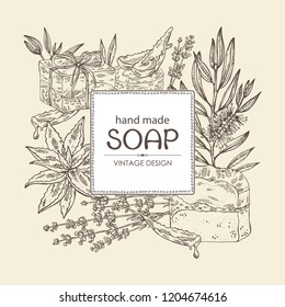Background with handmade soap, lavender, aloe and tea tree. Organic cosmetic natural soap. Vector hand drawn illustration.