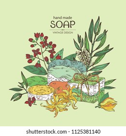 Background with handmade soap, tea tree, sandalwood and ylang ylang. Organic cosmetic natural soap. Vector hand drawn illustration.