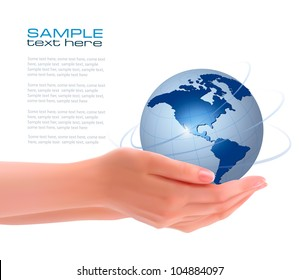 Background with hands holding globe. Vector