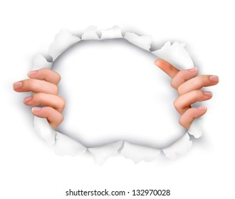 Background with hands showing trough a hole of in white paper. Vector.