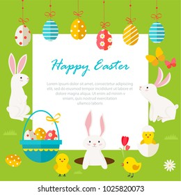 Background with hanging eggs, rabbits and landscape, copy space, vector illustration. Happy easter greeting card