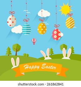 Background with hanging eggs, rabbits and landscape, vector illustration. Happy Easter greeting card