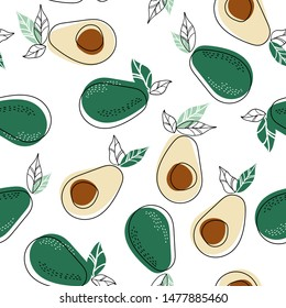 Background with healthy food. Avocado print. Seamless pattern.