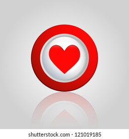 background with a heart button