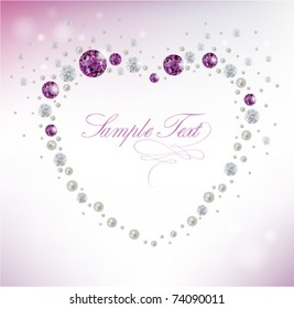 background with heart of diamonds and pearls
