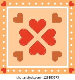 Background with hearts. Country style