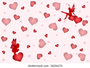 Background with a lot of hearts and two lovely fairies. Vector.