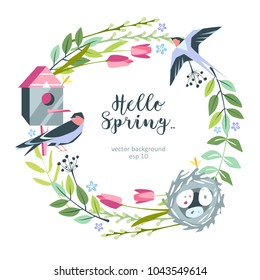 background hello spring summer floral with birdhouse, nest, swallow, eggs
