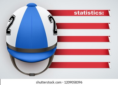 Background of Hippodrome Horseride sports. Infographic of list and schedule of horseman jockey and statistics. Horserider helmet on spase for text. Vector Illustration.