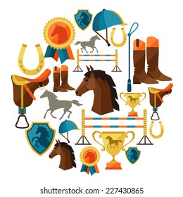 Background with horse equipment in flat style.