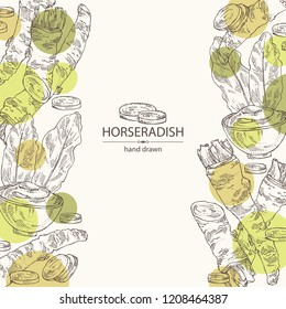 Background with horseradish: horseradish root, leaves and a piece of horseradish root. Vector hand drawn illustration.