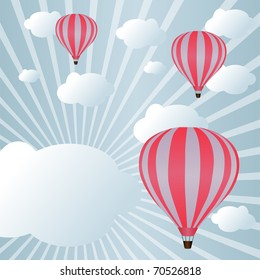 Background with hot air balloons among clouds in sunlight (eps10)