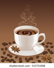 Background with hot steaming coffee cup. Vector illustration.