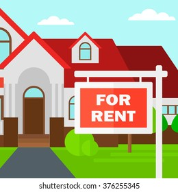 Background of house with for rent real estate sign.