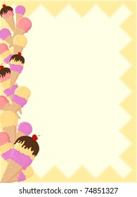 background with ice cream border in vector format very easy to edit, individual objects