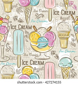 Background with  ice cream.Ideal for printing onto fabric and paper or scrap booking.Vector illustration