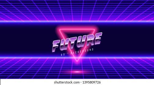 Background Illustration 80s Style. Synthwave, retrowave background.