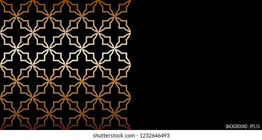 Background illustration batik vector. Design spline lines floral gradient gold on black. Design print for background, backdrop, cover, card, banner. Set 1