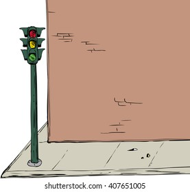 Background illustration of blank cartoon brick wall and sidewalk with stoplight over white background