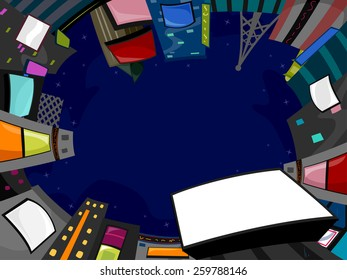 Background Illustration of Buildings with Jumbotrons Forming  a Circle Under the Night Sky