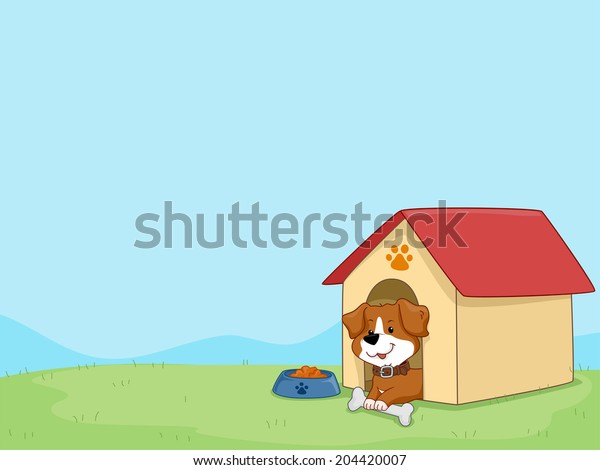 Background Illustration Featuring a Cute Little Dog Sitting in His Dog House