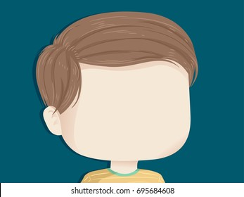 Background Illustration Featuring the Empty Face of a Little Boy With His Hair Parted to the Side
