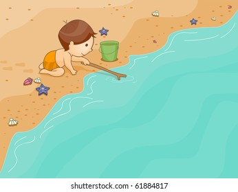 Background Illustration Featuring a Kid Playing in the Beach - Vector