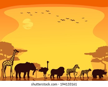 Background Illustration Featuring Safari Animals Walking in a Straight Line