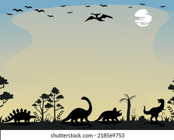 Background Illustration Featuring the Silhouettes of Dinosaurs