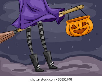 Background Illustration Featuring a Witch on a Broomstick