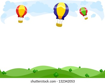 Background Illustration of Hot Air Balloons Border