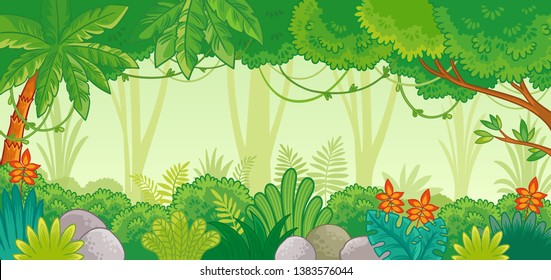 Background illustration with jungle. African nature in a cartoon style. Vector illustration.