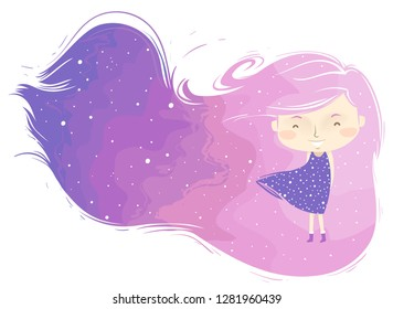 Background Illustration of a Kid Girl with Long and Dreamy Hair Floating to the Right