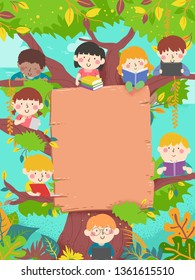 Background Illustration of Kids Students Reading and Writing from a Tree with Blank Board