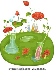 Background Illustration of Laboratory Tools Surrounded by Plants