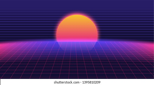 Background Illustration  Landscape 80s Style. Synthwave, retrowave background.