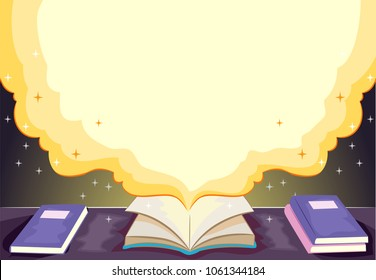Background Illustration of an Open Book with Smoke Filling the Screen for the Story
