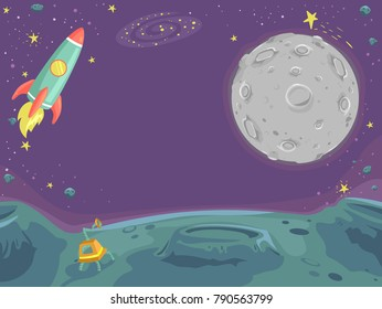 Background Illustration of Outer Space with the Moon and a Rocket Ship