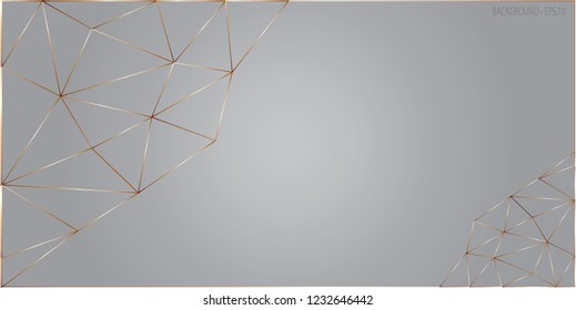 Background illustration polygon vector. Design triangle line gradient gold on silver. Design print for background, backdrop, cover, card, banner. Set 2