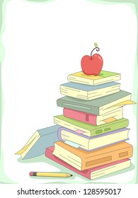 Background Illustration of a Stack of Books with a Red Apple on Top