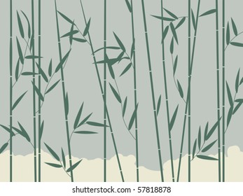 Background illustration with stylized bamboo leaves