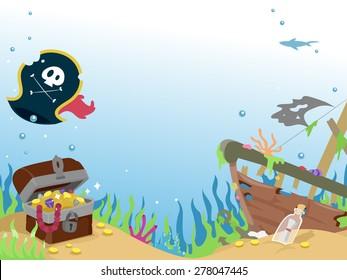 Background Illustration of a Sunken Pirate Ship