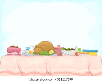 Background Illustration of a Table Filled with Potluck Contributions