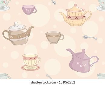 Background Illustration of Tea Set