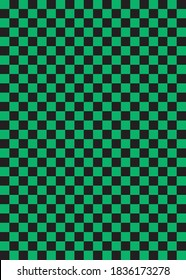 Background illustration of traditional Japanese pattern, green and black checkered pattern'ichimatsu'